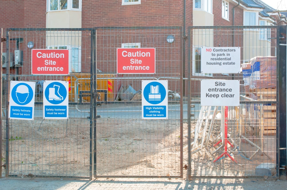 construction site warning fence signs